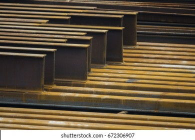 Steel H-piles or U beams at construction site