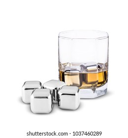 steel ice for whiskey in a glass on a white background
