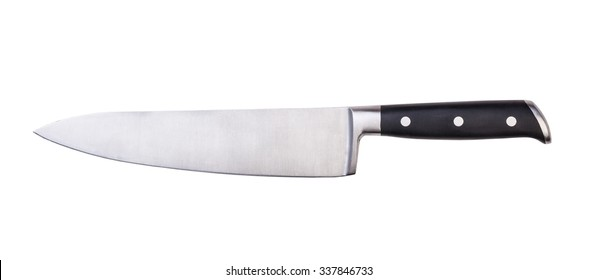 steel kitchen knives, isolated on white