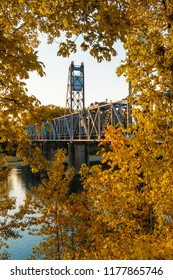 Steel Lift Bridge, Structure and Architecture over River in Salem Oregon
