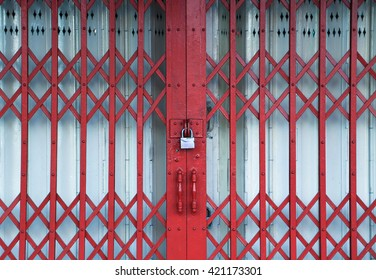 Steel locked door latch red, grunge metallic roller shutter door
