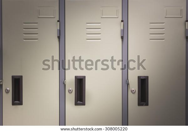 Steel lockers in the room