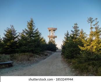 steel lookout tower at the mountain smrk at jizerske hory in czechia - Shutterstock ID 1853249944