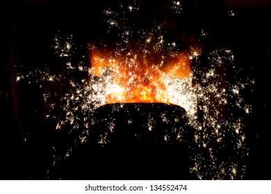 Steel making scenes - Molten steel