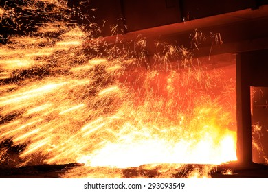 Steel making workshop sparks fly, very beautiful