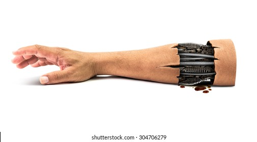 Steel mechanical inside human hand isolated on white background with clipping path for concept of cybernetic robot hand technology in the future time be rotten