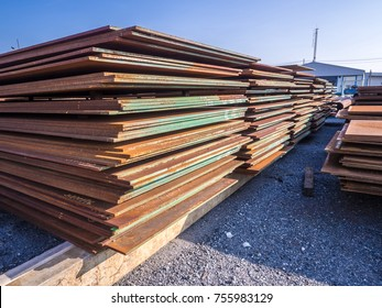 Steel member raw materials for fabrication platform oil and gas at material stock yard