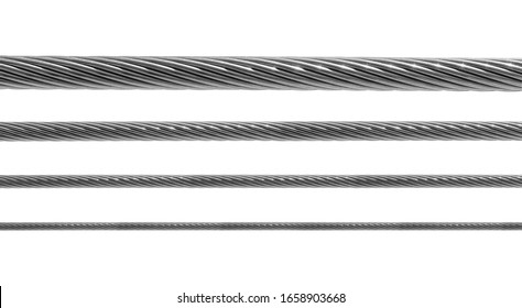 Steel metal hawser set isolated on white background