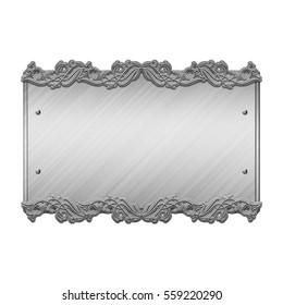 steel metal plate isolated on white 3D illustration