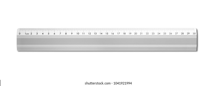 Steel metallic ruler isolated on white background