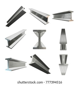 Steel metallurgy I-beam profile set. 3d render isolated on white background