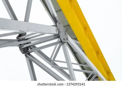 Steel metalwork portal link under the crane girder