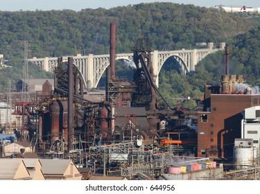 Steel mill blast furnace.