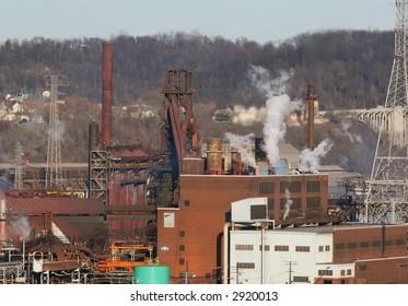 Steel mill blast furnaces