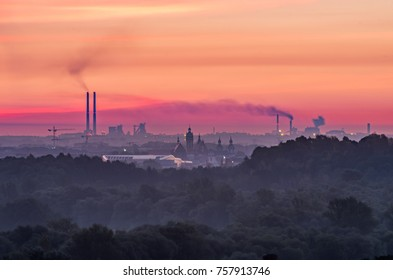 Steel mill and old city, air pollution in Krakow, Poland