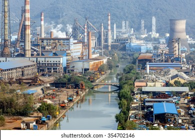 Steel mills Smoke and powder dust pollution in large industrial District
