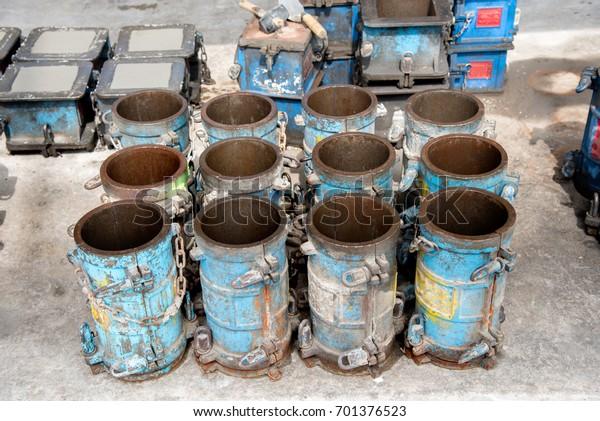 Steel Mold Casting Concrete Cylinder Compressive Stock Photo