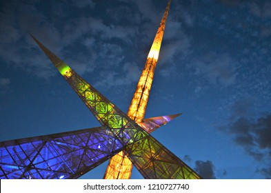 Steel monument over a viaduct in the heart of Goiania, capital of Goias State, Brazil