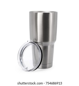 Steel mug isolated on white background. Large water bottle for keeping temperature. Big stainless cup for your design. Clipping paths object.