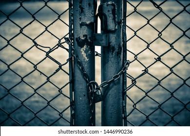 steel net ,chain and locker with blurred background.