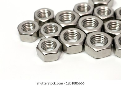Steel nut for industrial work isolated white background