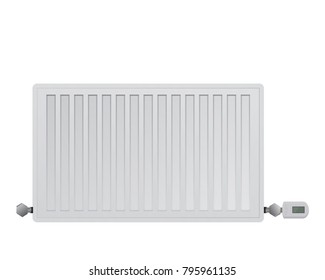 Steel panel radiator on a white background. Managing electronic thermal head on the valve. Connection to the heating system right and left. HVAC illustration.
