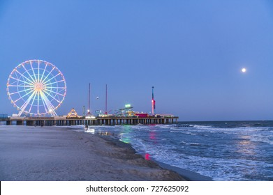 steel pier with reflection at night,Atlantic city,new jersey,usa.