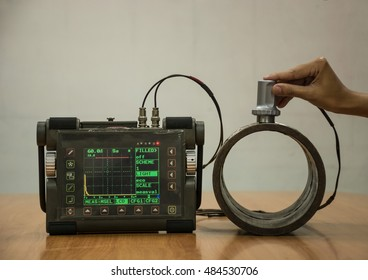 Steel pipe inspection by ultrasonic test for found internal defect