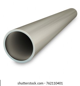 Steel pipe isolated on white background. 3D rendering