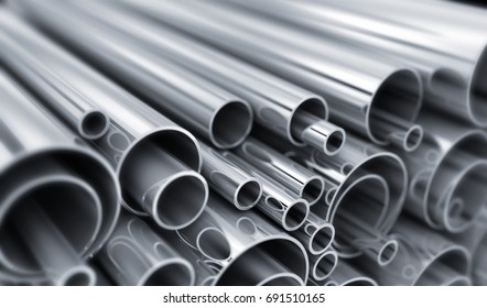 Steel Pipe, metal-roll industry. Focusing image in the center. 3d illustration