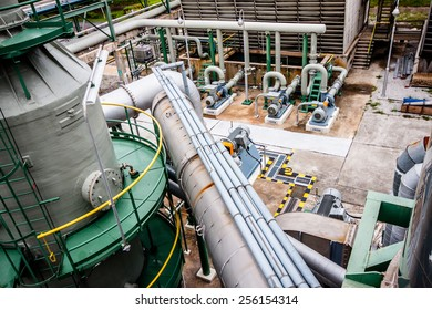 steel pipelines and pumps in plant