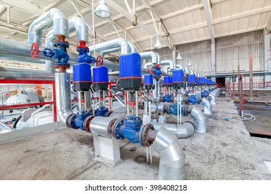 Steel pipelines and valves on factory producing blocks