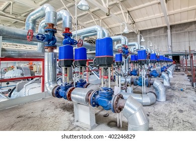 Steel pipelines and valves on factory