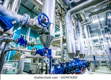 Steel pipelines and valves on milk factory