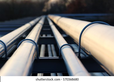 steel pipes in crude oil refinery