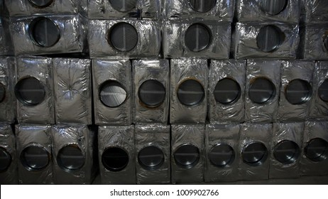 Steel pipes, frames, boxes and other parts for construction of ducts of industrial air condition system