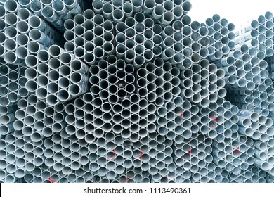Steel Pipes Industry Construction stacked in Factory warehouse