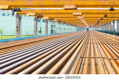 Steel pipes on the rack