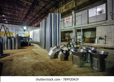 Steel pipes and other parts for construction of ducts of industrial air condition system in the factory