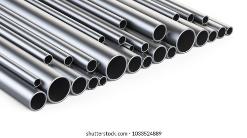 Steel pipes profile big stack. 3d illustration isolated over white background.