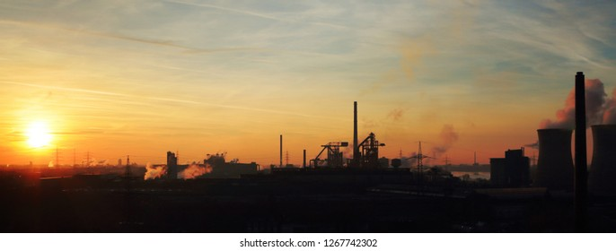 Steel plant in the evening in the sunset