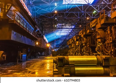 steel plant shop with equipment and machinery, industrial background