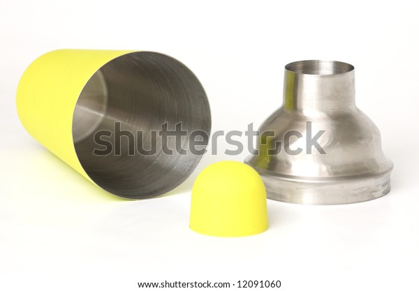 Steel and plastic covered shaker, green and silver, isolate