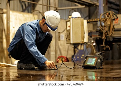 Steel plate inspection by ultrasonic test for found internal defect