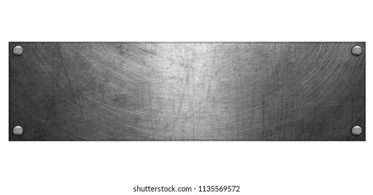Steel plate with rivets isolated on white background