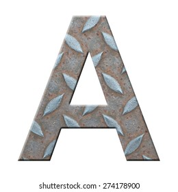 steel plate texture of character A on white background