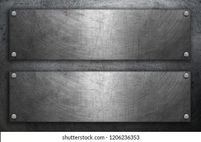 Steel plates on metal background
