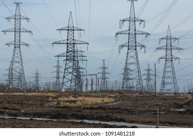 steel pole of high voltage transmission line, electrical power station  panorama