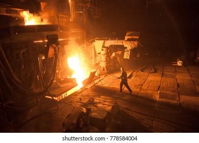 steel production in a steelmaking furnace