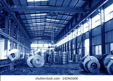 steel products piled up in the workshop , China.